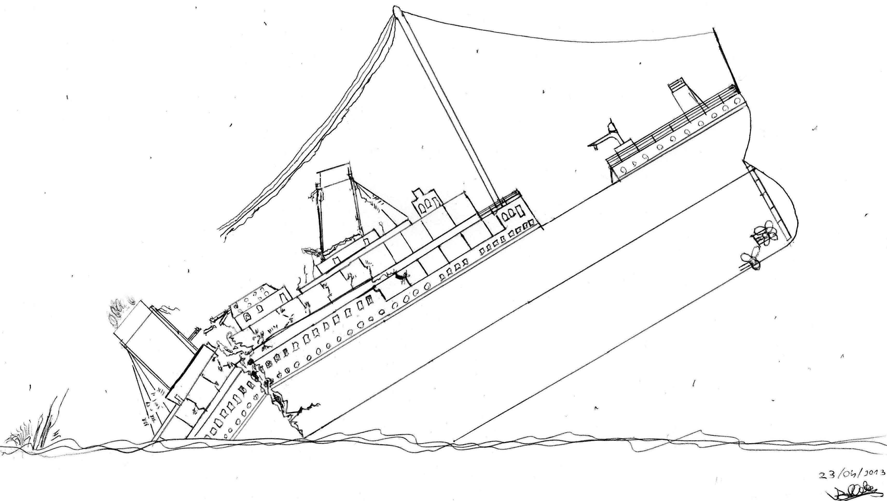 Dessin de la cassure - Dessin du titanic ...