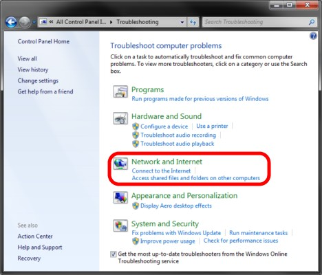 Troubleshoot Network or Internet Problems in Windows 7