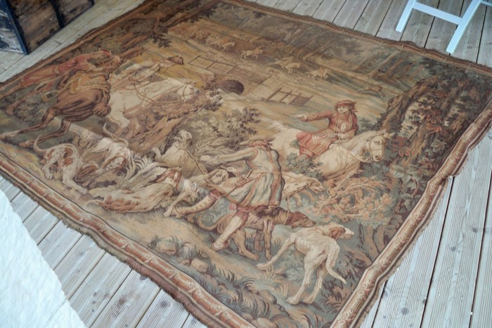 Grande tapisserie ancienne murale chasse - Tapisserie murale ancienne ...