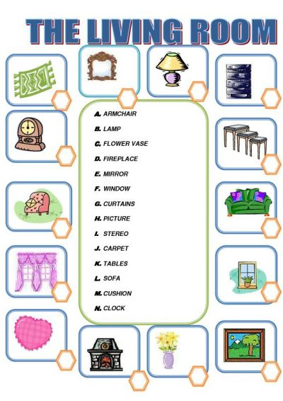 Worksheets for Living room vocabulary